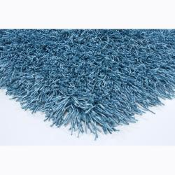 Handwoven Mandara Blue Shag Polyester Rug (9' x 13')