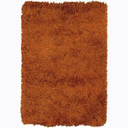 Handwoven Four-Inch Orange Mandara Shag Rug (9' x 13')