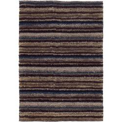 Handwoven One-Inch Polyester Striped Mandara Shag Rug (9' x 13')