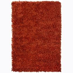 Handwoven Red Casual Mandara New Zealand Wool Shag Rug (9' x 13')