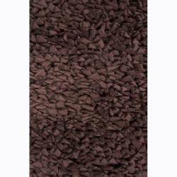 Handwoven Dark Brown Casual Mandara New Zealand Wool Shag Rug (9' x 13')