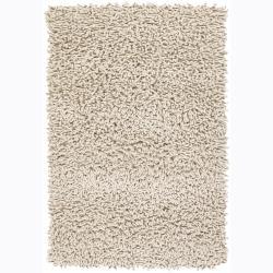 Handwoven Mandara Ivory New Zealand Wool Shag Area Rug (7'9 x 10'6)