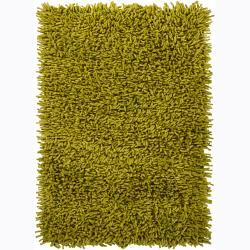 Handwoven Three-Inch Green Mandara New Zealand Wool Shag Rug (7'9 x 10'6)