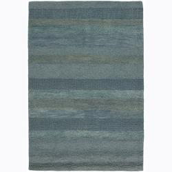 Hand-Tufted Striped Blue Mandara Wool Rug (5' x 7'6)