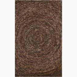 Hand-Tufted Dark Brown Geometric Mandara Wool Rug (7'9 x 10'6)