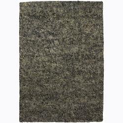 Handwoven Mandara Green/Gray Shag Rug (9' x 13')