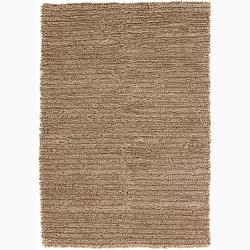 Handwoven Tan Mandara New Zealand Wool Shag Rug (5' x 7'6)