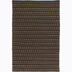 Handwoven Multicolor Mandara New Zealand Wool Striped Rug (5' x 7'6)