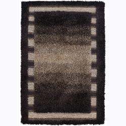 Handwoven Brown/Beige Bordered Mandara Shag Rug (7'9 x 10'6)