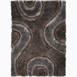 Handwoven Brown/Gray Swirl Mandara Shag Rug (5' x 7'6)