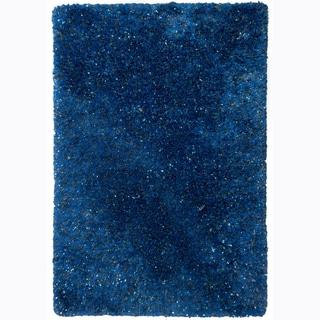 Hand-woven Mandara Blue Shag Polyester Rug (5' x 7'6)