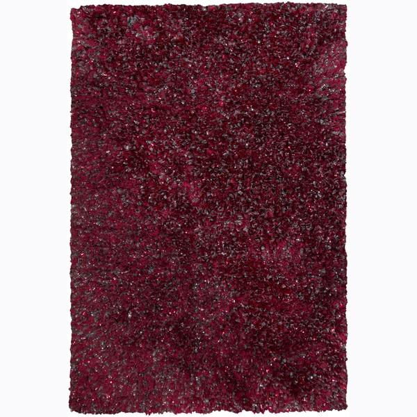 Hand-woven Mandara Red Shag Rug (7'9 x 10'6)