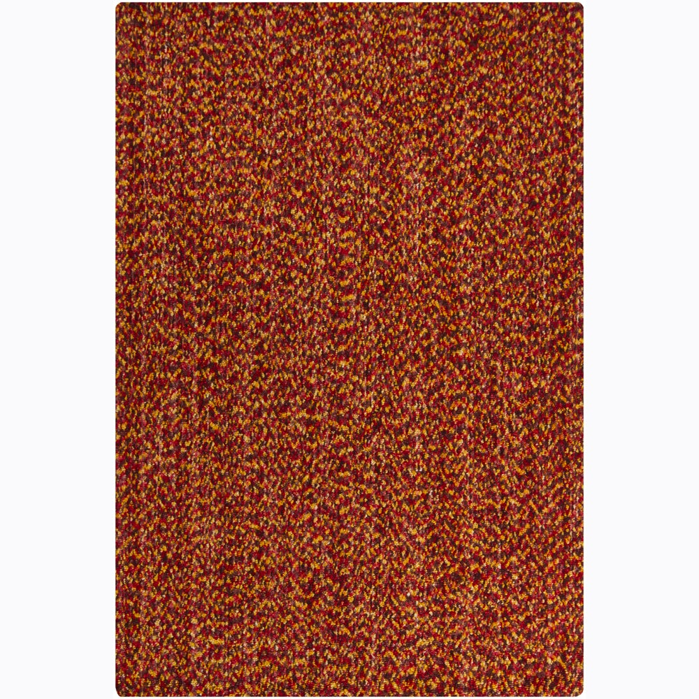 "Orange-and-Brown Handwoven Mandara Red Shag Rug (5' x 7'6"")"