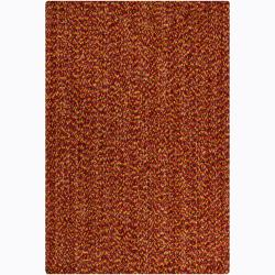 Orange-and-Brown Handwoven Mandara Red Shag Rug (5' x 7'6
