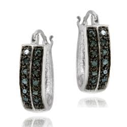 DB Designs Sterling Silver 1/4ct TDW Blue Diamond Cuff Hoop Earrings