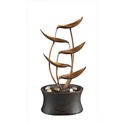Natura Tabletop Metal Leaf Water Fountain