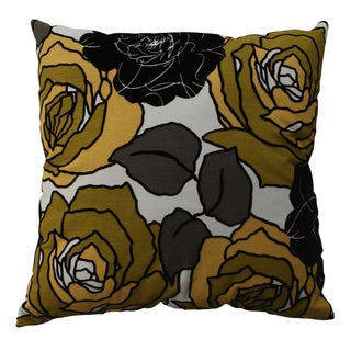Pillow Perfect Yellow/ Green Floral Flocked Throw Pillow