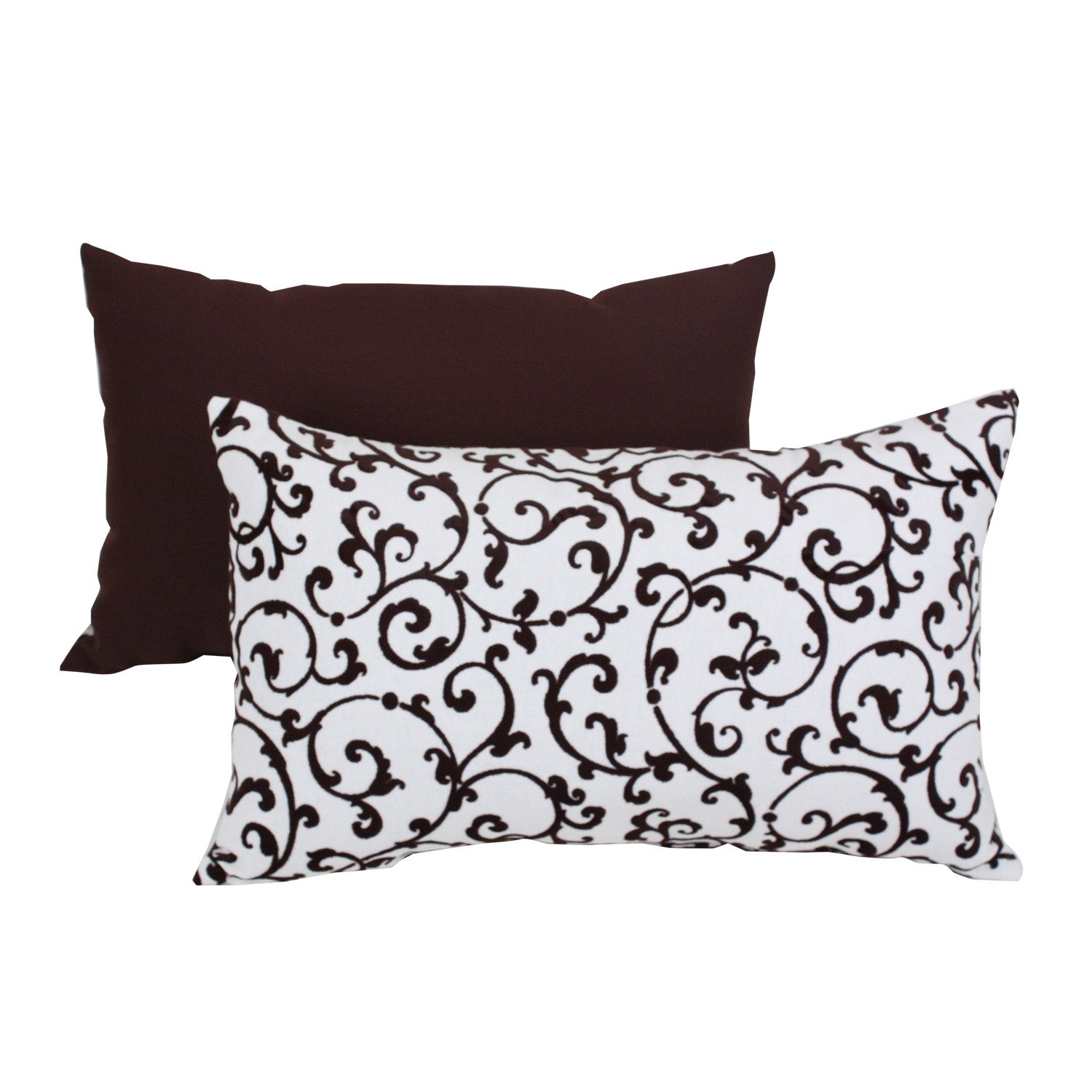 Pillow Perfect Brown Polyester/Cotton Blend Scroll Flocked Throw Pillow