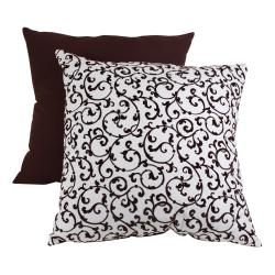 Pillow Perfect Brown Scroll Flocked Throw Pillow