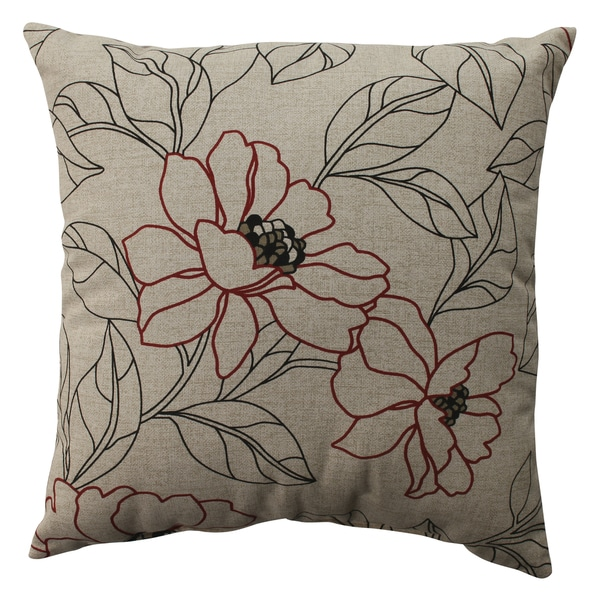 Pillow Perfect White/ Red Floral Throw Pillow