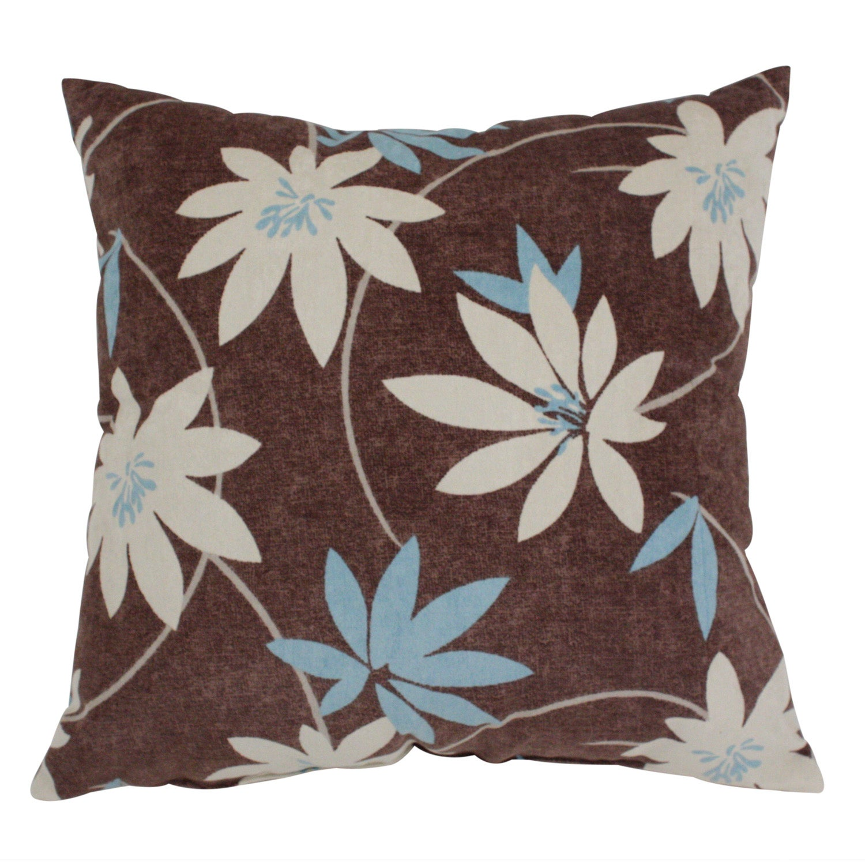 Pillow Perfect Brown Floral Flocked Decorative Throw Pillow