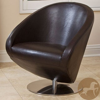 Christopher Knight Home Modern Brown Leather Roundback Chair