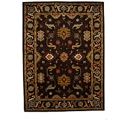 Hand-Tufted Tempest Dark Brown/Gold Area Rug (8' x 11')