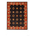 Hand-Tufted Tempest Black/Red/Ivory Oriental Area Rug (8' x 11')