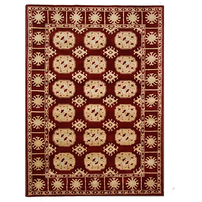 Hand-Tufted Tempest Ivory/Red Oriental Area Rug (8' x 11')