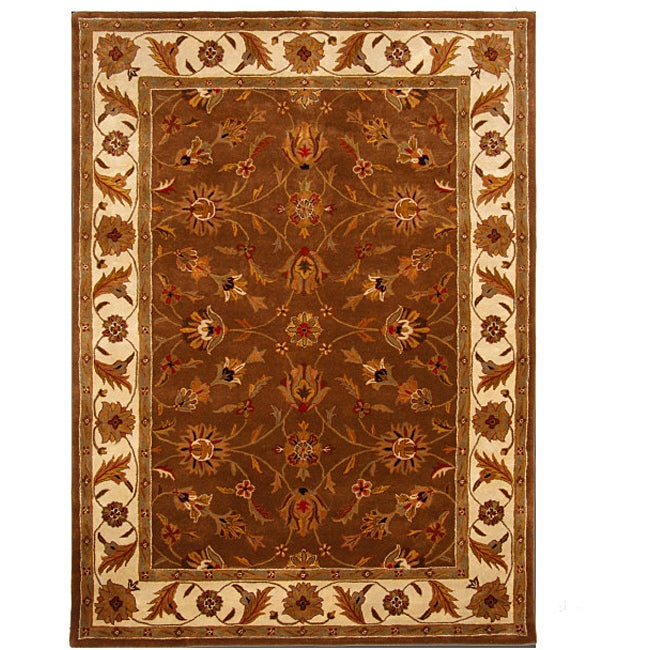 Hand-Tufted Tempest Brown/Ivory Wool Area Rug (8' x 11')