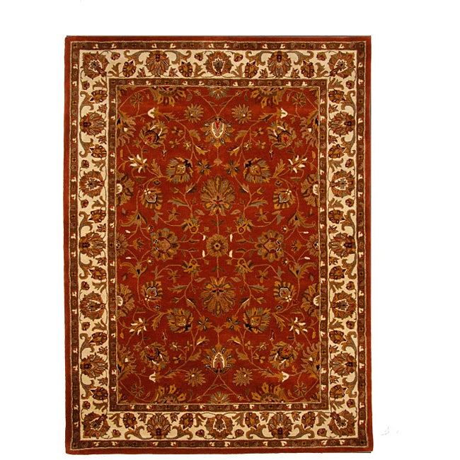 Large Hand-Tufted Tempest Red/Ivory Area Rug (8' x 11')