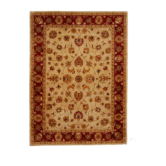 Hand-Tufted Tempest Ivory/Red Area Rug (8' x 11')
