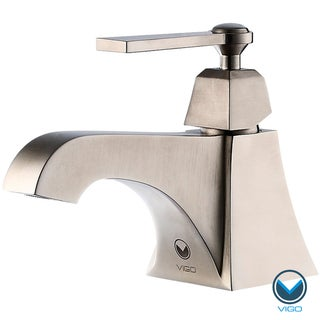 VIGO Plutus Single Handle Bathroom Faucet in Brushed Nickel Finish