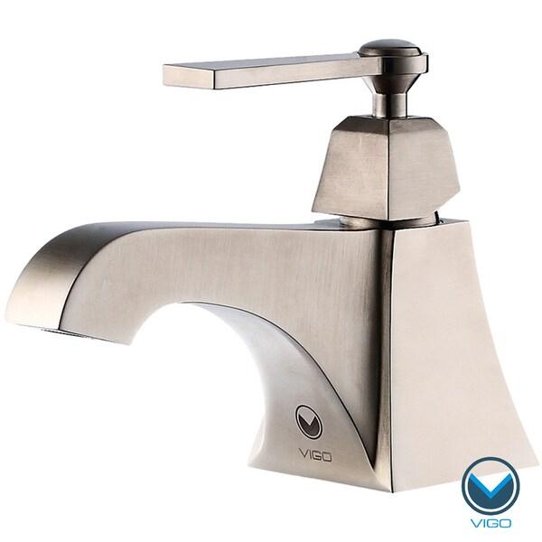 VIGO Plutus Single Handle Bathroom Faucet in Brushed Nickel Finish