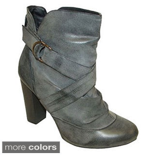 Bucco Women's Slouchy Buckled Ankle Booties