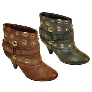 Bucco Women's Studded Faux Leather Bootie