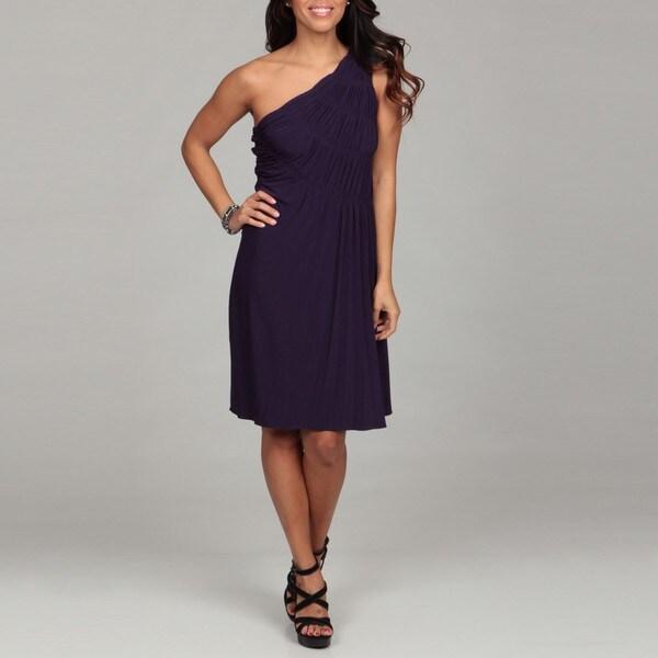Suzi Chin Women's Deep Purple One-shoulder Dress