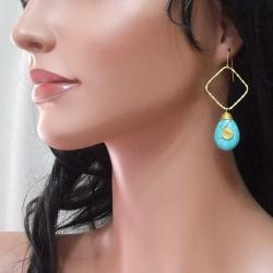 Blue Turquoise Teardrop Fascination Brass Earrings (Thailand)