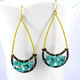 Lovely Moon Smile Blue Turquoise Stone Brass Earrings (Thailand)