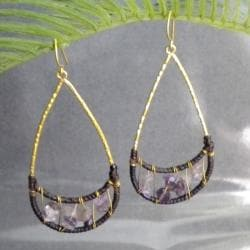 Lovely Moon Smile Purple Amethyst Stone Brass Earrings (Thailand)