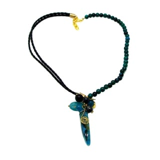 Lovely Malachite Leather Mix Blue Agate Necklace (Thailand)