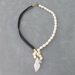 Leather Pearl Medley Floral Secret CLear Quartz Necklace (Thailand)