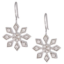 La Preciosa Sterling Silver Snowflake CZ Earrings