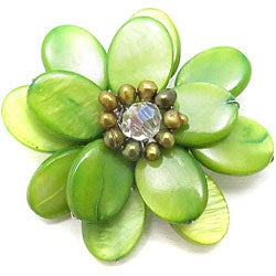 Lime Green Mother of Pearl Sweet Azalea Floral Pin/ Brooch (Thailand)