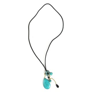 Blue Turquoise Teardrop Floral Heart Leather Necklace (Thailand)