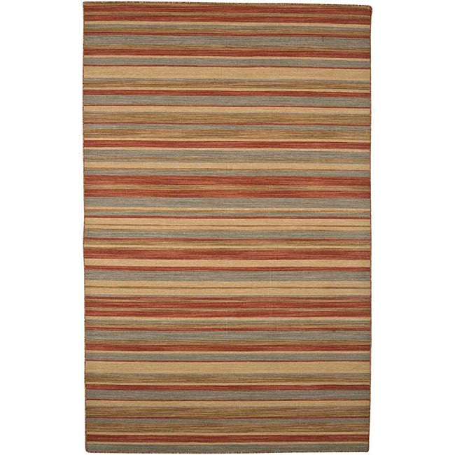 Flat Woven Red Wool Rug (9' x 12')