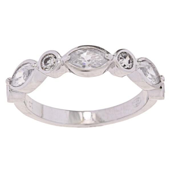 La Preciosa Sterling Silver Marquise and Round CZ Ring