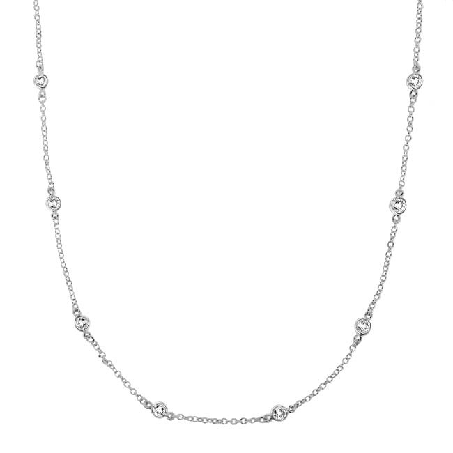 Sterling Silver Clear Cubic Zirconia 16-inch By-the-yard Necklace