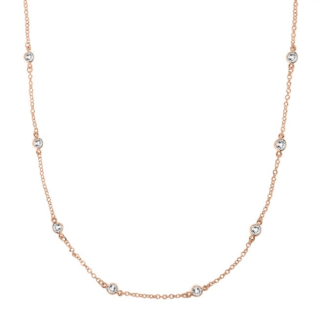 14k Rosegold over Silver Cubic Zirconia Necklace