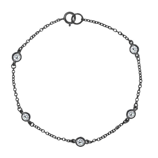 Sterling Silver Cubic Zirconia 8-inch By-the-yard Bracelet